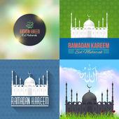 Vector Ramadan Kareem Background Template Set — Stock Vector