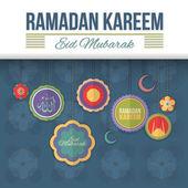 Ramadan Kareem Flat Style Background — Stock Vector