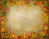 Golden background with colored leaves, fruits,berries.  Autumn. — Stock Photo