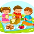 Kids having a picnic — Stock Vector #51924277