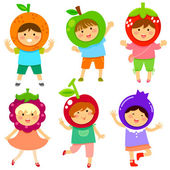 Fruity kids — Stock Vector
