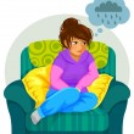 Depressed girl — Stock Vector #63856369
