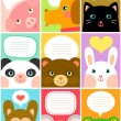 Cute animal labels — Stock Vector #69575093