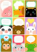Cute animal labels — Stock Vector