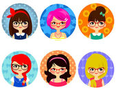 Girls with glasses — Stock Vector