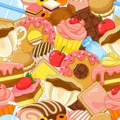 Seamless pattern with sweets and pastries — Stock Vector