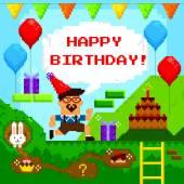 Pixel game birthday card — Stock Vector