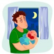 Tired father with crying baby — Stock Vector #76947463