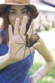 Spider and the girl's palm — Stock Photo