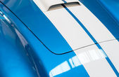 Blue and White Striped Hood of Classic Car — Stock Photo