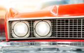 Headlight of Red Classic Car — Stock Photo