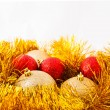 Christmas balls and Golden tinsel — Stock fotografie #59087513