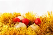 Christmas balls and Golden tinsel — Stock Photo