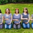 Group of pregnant women sitting on a grass and touching their bellies with hands. Maternity concept. — Stock Photo #65098503