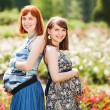 Two beautiful young smiling pregnant women. outdoor. against the background of flowers — Stock Photo #65665591