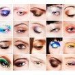 Collage of many different and beautiful female eyes with creative colorful makeups — Stock Photo #65708333