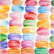 Beautiful card with watercolor painted colorful french dessert macaroons. — Stock Photo #68270595