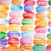 Beautiful card with watercolor painted colorful french dessert macaroons. — Stock Photo