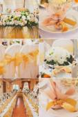 Collage collection of gold wedding details from ceremony and reception — Stock Photo