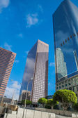 Skyscrapers against blue sky in downtown of Los Angeles, California USA — Stock Photo