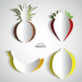 Paper Fruit Set — Stock Vector
