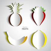 Paper Fruit Set — Stock Vector
