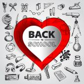 Back to school with papercut red heart — Stock Vector