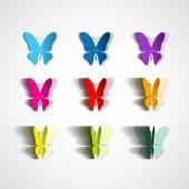 Set of paper cut butterflies — Vector de stock