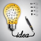 Business doodles ikoner set i glödlampa infographics. — Stockvektor