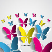 Greeting card with paper butterflies — Stock Vector