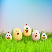 Funny chicken family in grass — Stock Vector