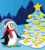 Penguin and christmas tree — Stock Vector