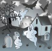 Scenery on cemetery with ghosts — Stock Vector
