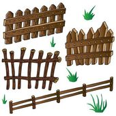 Woods fences collection — Stock Vector