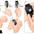 Set of multi-touch gestures for smart-watch. — Stock Vector #54050387