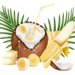 Coconut with milk splash and slices of bananas. — Stock Vector #54054593