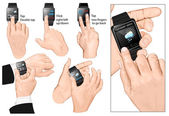 Set of multi-touch gestures for smart-watch. — Stock Vector