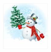 Snowmen on snow background. — Stock Vector