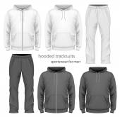 Men hooded tracksuit. — Stock Vector