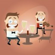 Lustige Cartoon Mann und Candle-Light-dinner — Stockvektor  #54035875