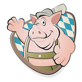 Funny cartoon pig in bavarian lederhosen — Stock Vector