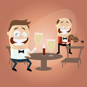 Funny cartoon man and candlelight dinner — Stockvector