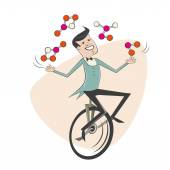 Funny cartoon man juggling with molecules — Stock Vector