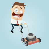 Funny cartoon man with lawn mower — Vettoriale Stock