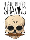 Death before shaving skull with mustache — Stock Vector