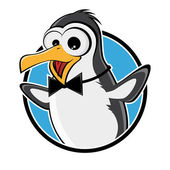Funny cartoon penguin in a badge — ストックベクタ
