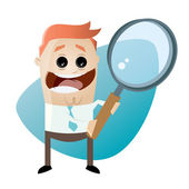 Funny cartoon businessman with big magnifying glass — Stockvektor