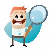 Funny cartoon businessman with big magnifying glass — Stock Vector