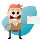 Funny cartoon businessman with businesscard — Stock Vector