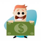 Funny cartoon businessman with money — Stock Vector